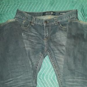 SEVEN 34-34 straight mens dark wash blue jeans